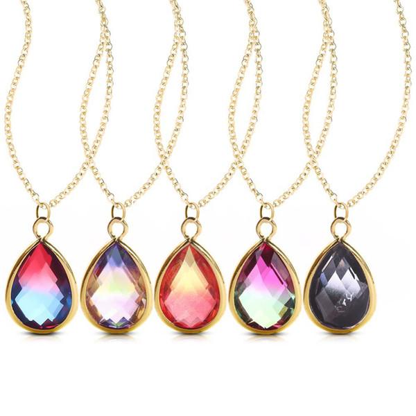 Healing Stone Pendant Oval Long Tears Water Drop Chakra Charm Semi-Precious Gemstone Rock Crystal Quartz Stone Pendants for Necklace
