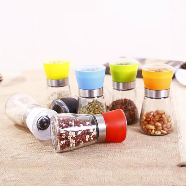 top popular Kitchen Tool Salt Pepper Grinder Mill Manual Glass Pepper Muller Spice Grinding Bottle Seasoning Pot Colorful Condiment Grinders DBC VT1032 2021