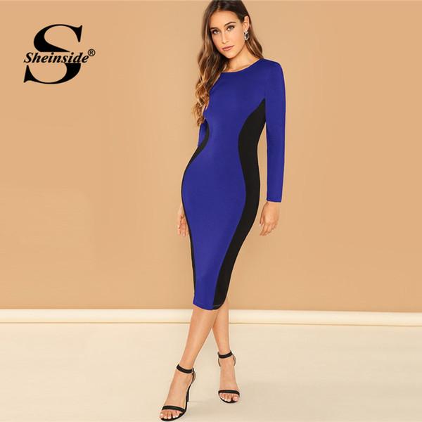 Sheinside Blue Color Block Pencil Dress Donna manica lunga al ginocchio Bodycon Dress 2018 Autunno Office Lady eleganti abiti slim