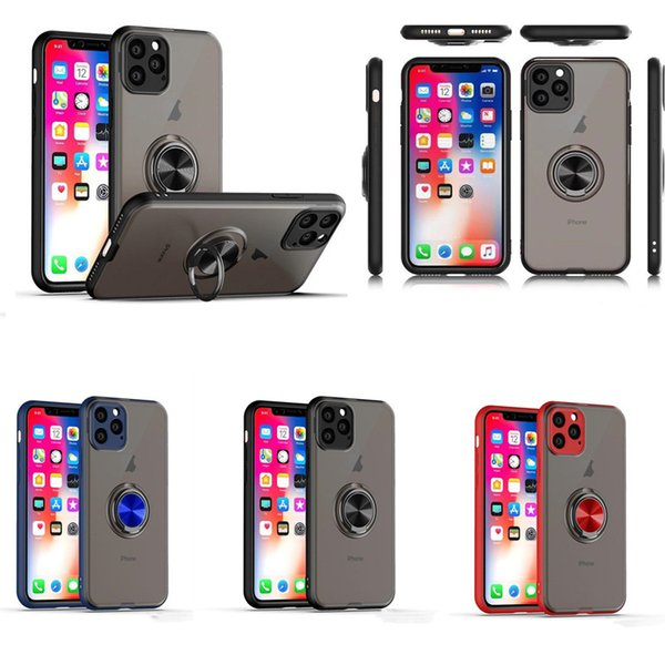 Анти-отпечатков пальцев Матовый чехол для телефона Магнитный автомобильный держатель кольца Жесткий ПК Броня Чехол для iPhone 11 XR XS MAX 6 7 8 плюс Samsung Note 10 Note 10 Pro