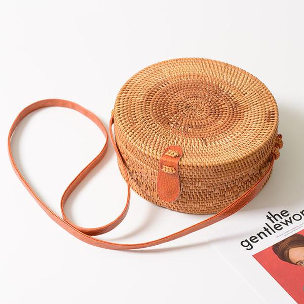 Multi-purpose Maquiagem Rattan Redonda Crossbody Bag Com ajustáveis Genuine Strap Boho Mulheres Sacos de armazenamento Organizer Toto