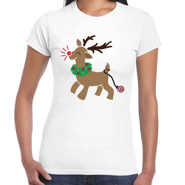 Ladies Red Nosed Reindeer Christmas T Shirt white black grey red trousers jacket croatia leather tshirt