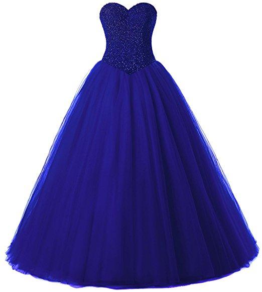 2019 New Quinceanera Dresses Royal Blue Sweetheart Tulle Prom Dresses Crystals Beading Lace Up Back Ball Gowns Sweet 16 Dresses Party Wear