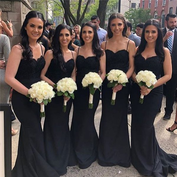 2019 New Cheap Black Bridesmaids Dress Mermaid Spagehtti Strap Backless Appliques Top Long Maid Of Honor Gowns Gothic Wedding Guest BM0908