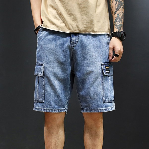 Yaz Erkek Giyim Cep Fermuar Kargo Şort Gri Mavi Rahat Gevşek Erkek Şort Artı Boyutu 28-40