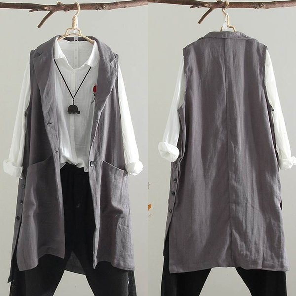 ZANZEA Lapel Vests Cardigan Women Sleeveless Jacket Female Casual Long Coat Button Gilet Top Femme Plus Size Splirt Overcoat 5XL
