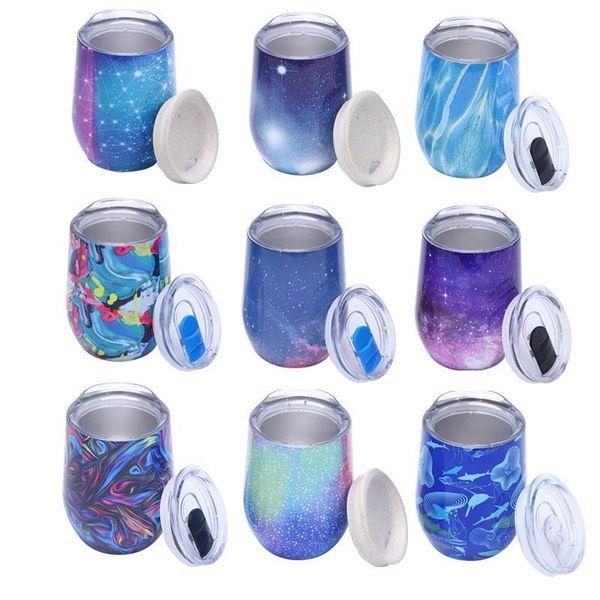 9oz tazza guscio d'uovo acciaio inox vuoto isolamento vino vetro boccale di birra personalizzata a forma di U a forma di uovo tazza regalo 28 colori MMA2381