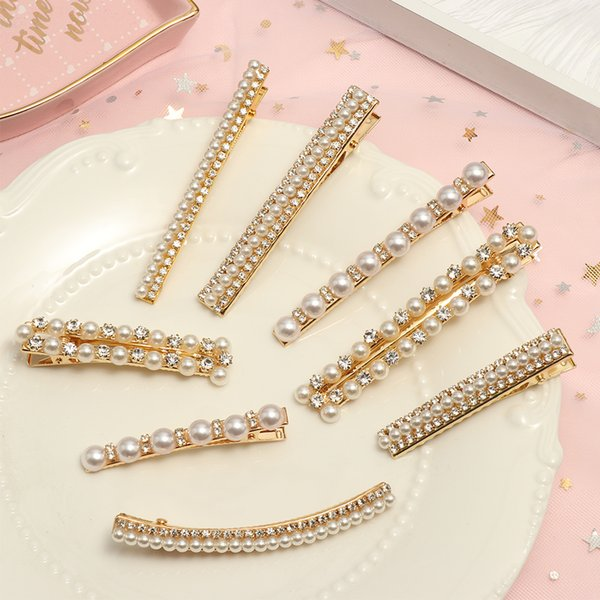 Korean Sweet Clips Headwear Hair Styling Tool Women Fashion Hair Accessories Metal Pearl Hairpins Lady Simple Clip Barrette