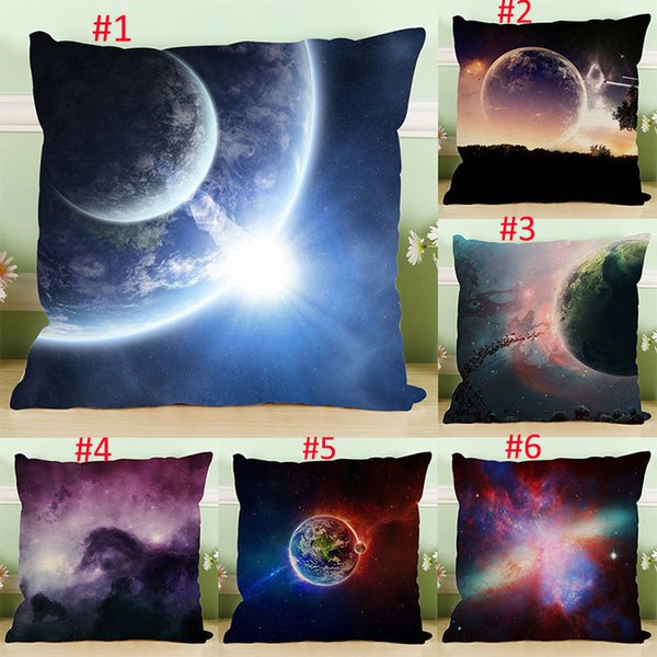 Page One Room Gifts Single Sides Printing Pillow Cover Beauty Planet Cotton Linen Pillowcase Throw Soft Back Cushion Pillow Case