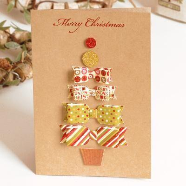 Amigável 2020 Paper Vintage 3D Chirstmas Cartões Cartões de Natal Handmade Kraft Cartão Bênção presente do negócio