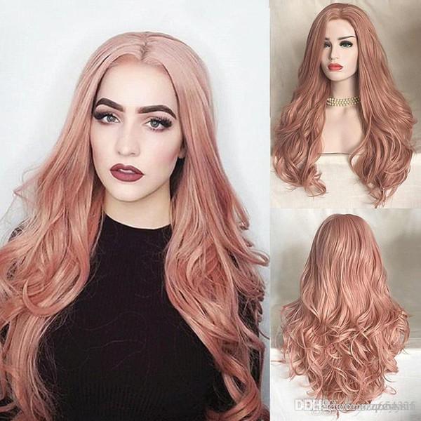 "Women's wig fashion 28"" 72cm women synthetic wigs long wavy pink wigs cosplay party +wig cap"