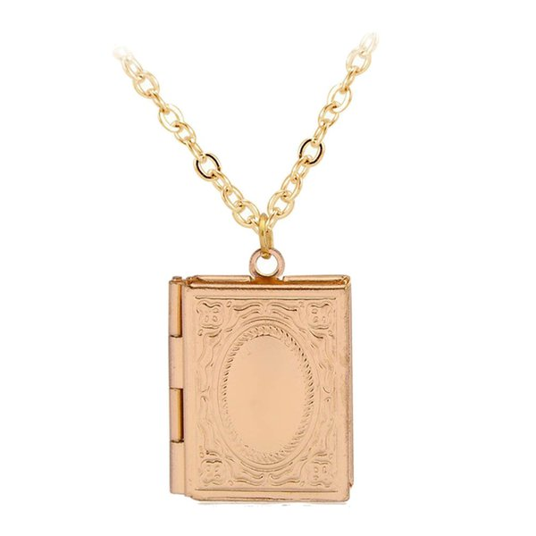 1pc Fashion Carved Vintage Style Delicate Imitation Book Locket Necklace Secret Hiding Place Photo Locket Necklace Photos Box