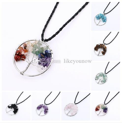 Natural Crystal Quartz Gemstone Chakra Living Tree of Life Charms Handmade Natural Gemstone Chips Wire Wrap Stone Bead Pendant for Necklace