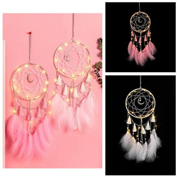 top popular LED wind chimes dream catcher pendant feather home decoration LED Light Dream Catcher Bed Room Hanging Ornament pendant 2021