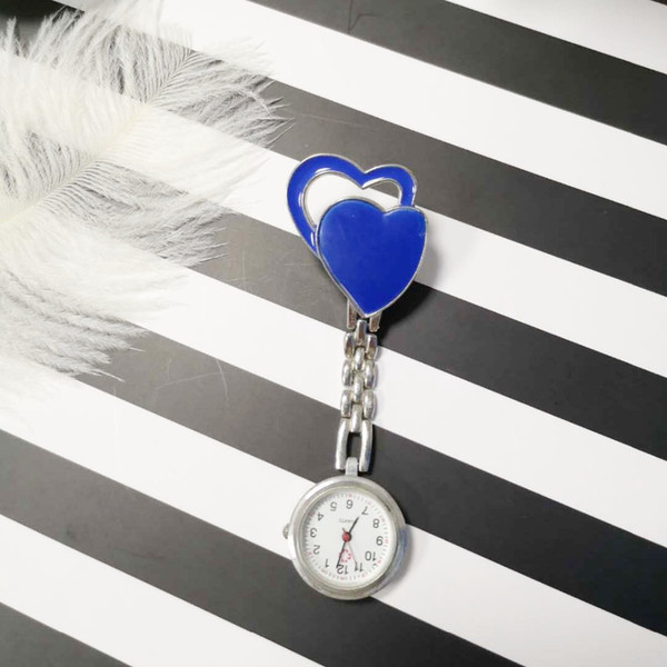 Two Heart Nurse Pocket Watch Trend Bronze Fashion Glass Mirror Alloy Textured Strap New Year Gifts Available at Random