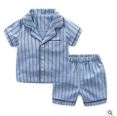 Bambini Pigiama 2 pezzi Abiti 2019 Estate manica corta in cotone a righe Ragazzi Pigiama Moda pigiami per bambini Bambini Ragazzi a righe Pigiameria