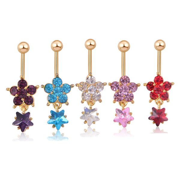 Red Blue Black Flower Shape Navel Belly Button Ring Lip Tongue Nose Studs Bar Ring Dance Sexy Body Jewelry for Women