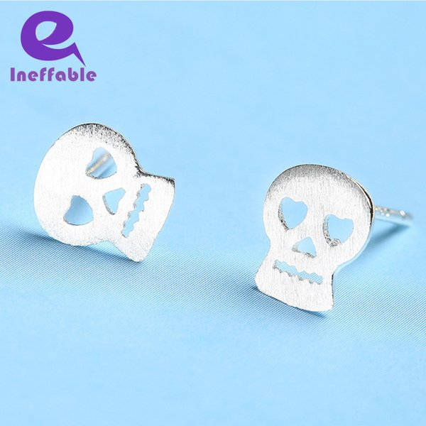 Ineffable Halloween Collection 925 Sterling Silver Hollow Skull Stud Earrings Lovely Handmade Studs Women Skeleton Jewelry Ear