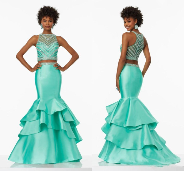 2019 New Design Mint Two Pieces Prom Dresses Top Beaded Tiered Crystals Formal Evening Party Gowns Red Carpet Runaway Celebrity Dress