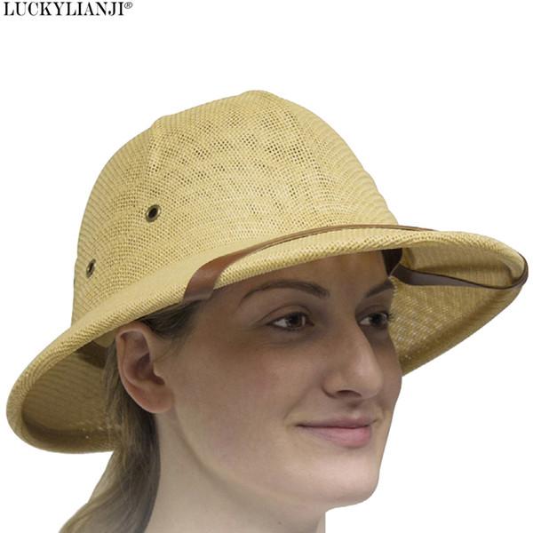 9f6aee82 wholesale Women's Men's Novelty Toquilla Hard Straw Helmet Pith Sun Hats  For War Army Sun Hat