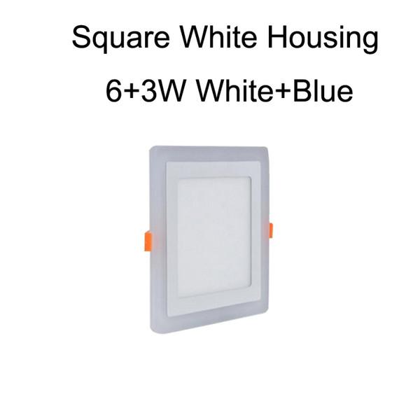 Square White Housing 6+3W White+Blue