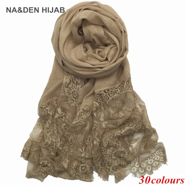 2017 Luxury Edges Lace Scarf plain solid women shawl floral lace scarves Cosy cotton viscose wrap ladies muffler nice