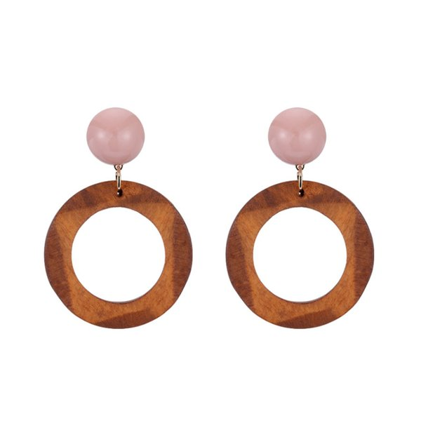 Cold Wind Irregular Wood Earrings Female Korean Simple Colour Colouring Resin Geometric Ear Nail Ear Clip No Ear Hole E461
