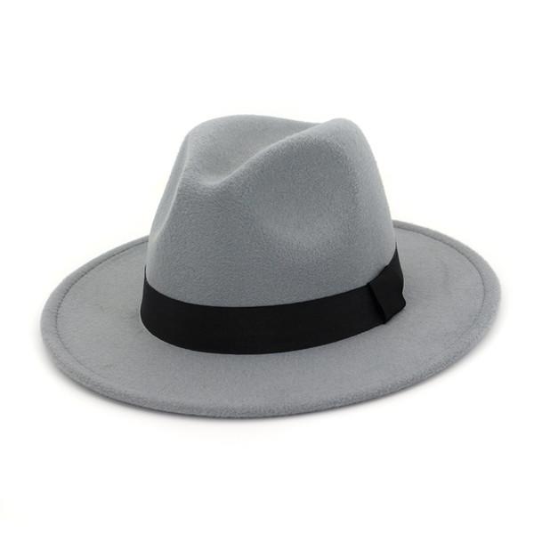 Vintage Women Wool Blend Panama Hat Lady Wide Brim Fedora Sombrero Church Jazz Hat with Woven Belt