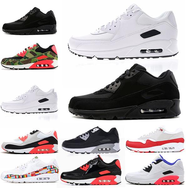 Nike air max 90 Erkek tasarımcı ayakkabı Koşu Ayakkabıları 90 s Kızılötesi Üçlü Beyaz Pembe Siyah Croc Marka Açık Tainer Kadın Spor Sneakers 36-45 Ücretsiz Kargo