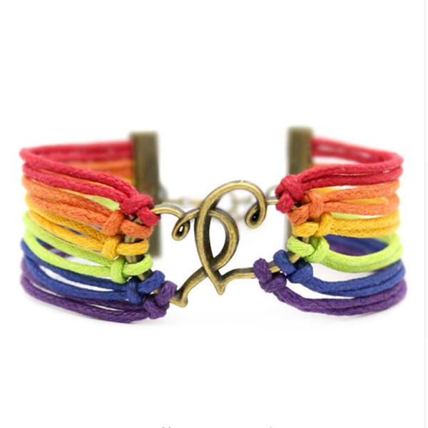 Bijoux Vintage LGBT couleur arc-en-Croix Bracelet tissé Amour Charms main Bangle Ajuster la taille Pulseras Cadeaux Bijoux