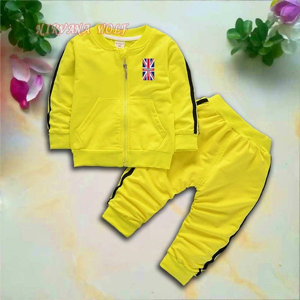 BOY National Flag Kids Sets 1-4T Kids Cardigan Zipper Coats Pants 2Pcs/sets Children Sports Sets Long Sleeve Coat Kids Summer Suit