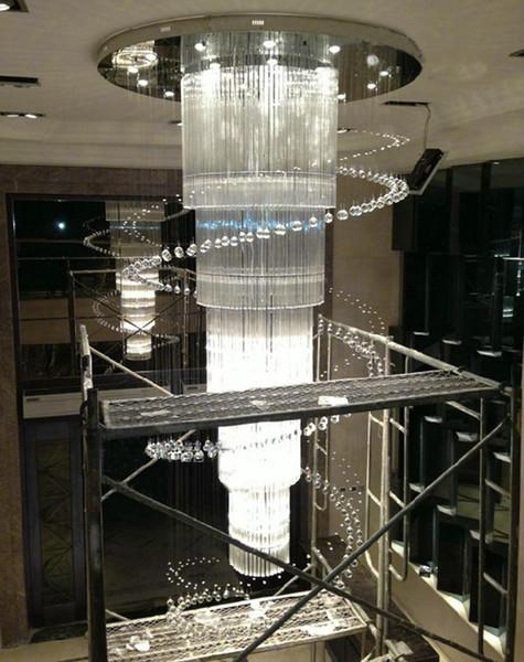 spiral design modern large crystal chandelier hotel light AC110V 220V lustre cristal LED staircase chandelier lighting