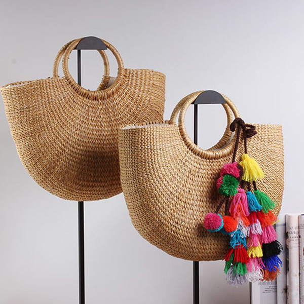 2019 New High Quality Tassel Rattan Bag Beach Bag Straw Totes Bag Bucket Summer Bags With Tassels Women Handbag Braided Y19061204