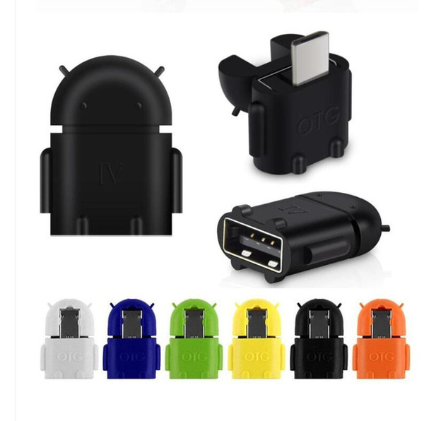 Adaptateur micro USB à USB OTG Adaptateur Android Robot OTG pour téléphone intelligent, téléphone portable Connexion au clavier de souris USB Flash