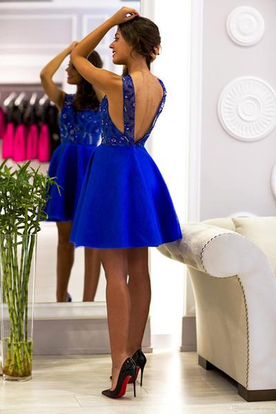 Vestido de regreso a casa de una línea de encaje azul real barato Espagueti sexy sin espalda Vestidos de cóctel cortos Mini vestido de fiesta de graduación BC2223