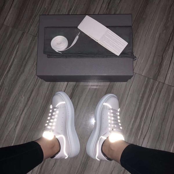 Топ дизайнер L Повседневная обувь для фитнеса кожа мужская женская мода белая кожа флуоресценция обувь плоские Повседневная обувь ежедневный бег трусцой
