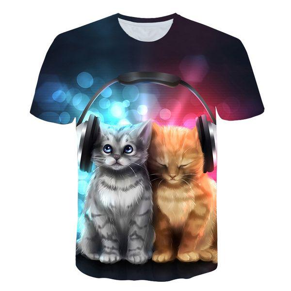 Vogue Summer Listen Music Cat T Shirt Punk Cartoon 3D Print O-neck Harajuku Star T Shirt Men Cool TWO CATS Funny Casual Tops Tee