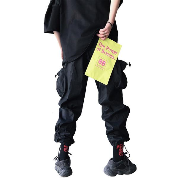 Große Tasche locker Overall personalisierte Patch Trend Herren Sommer Hip Hop dünne Sektion Tunnelzughose