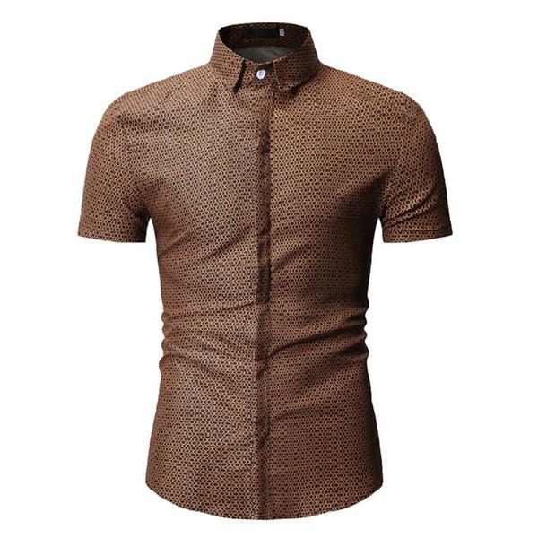 Yaz Erkek Puantiyeli Gömlek Erkek Yaka Boyun Düğmesi Kısa Kollu Elbise ile Moda Tasarımcısı Casual Gömlek