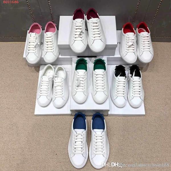 nuevo Zapatillas de deporte planas de cuero para hombres con suela de goma, bañadores de talle bajo Zapato blanco rosado azul rojo Uso causal Marrón Tamaño 35-44