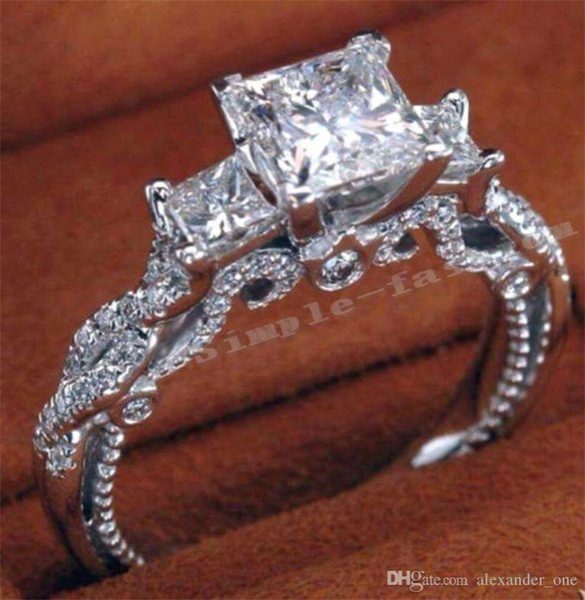 2017 AGORA 925 Sterling silver Engagement Wedding Bride Jóias de Luxo 2ct Princesa-cut Diamante de Diamante Quadrado Mulheres Três Pedra Lateral cz anel