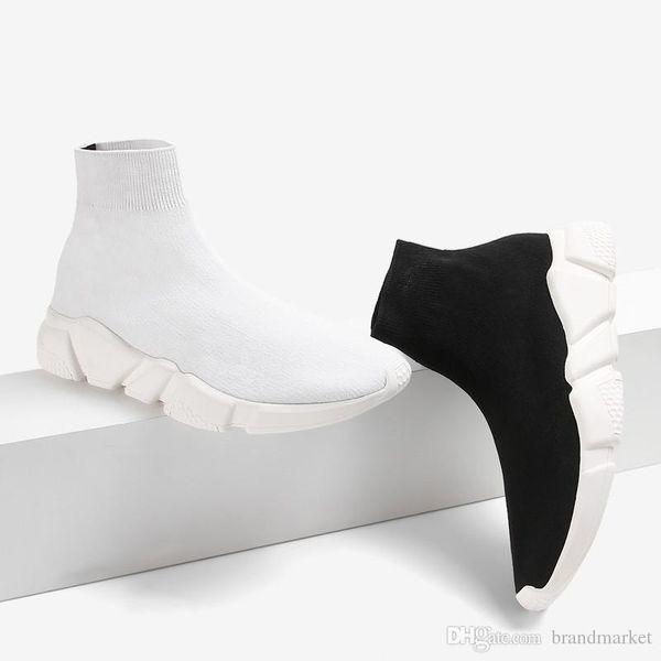 Double boîte bottes chaussettes noir blanc vitesse entraîneur femme chaussure homme bottes décontractées de haute qualité Stretch-Knit High Top Trainer chaussures pas cher Sneaker