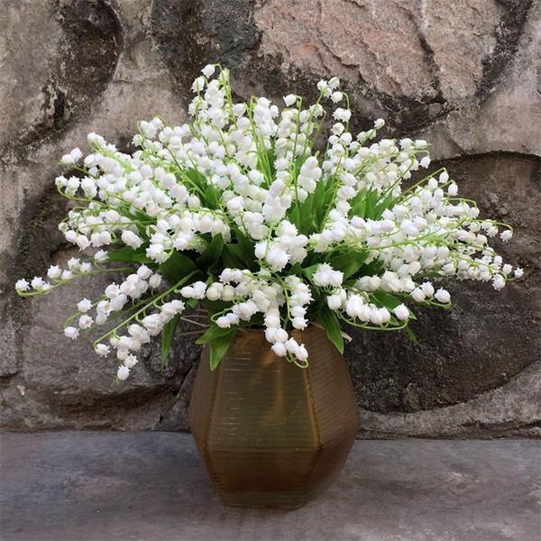 Искусственный цветок Ветер Chime жесткий пластик Pure White Mountain Valley Малый Лили Поддельные Свадебные цветы украшения для вечеринок 1 99sbE1