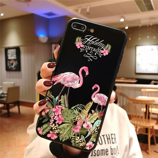 For iPhone X/XS MAX /XR 8/7/6 plus for Girls Mobile Shell Flamingo Flower Cover Women Slim Shockproof Fashion Teenage Heart Protective Case