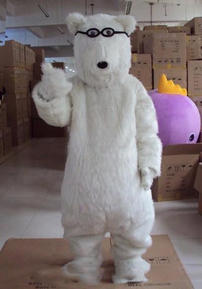 Costumi di Halloween bianco orso polare del costume della mascotte del fumetto Top Quality Occhiali orso Anime carattere tema natalizio Carnival Party