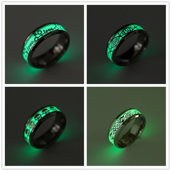 best selling Fashion Stainless Steel Glow in the Dark Rings Love Jesus Skull Freemasonry electrocardiogram Noctilucent Jewelry Ring Free Choose