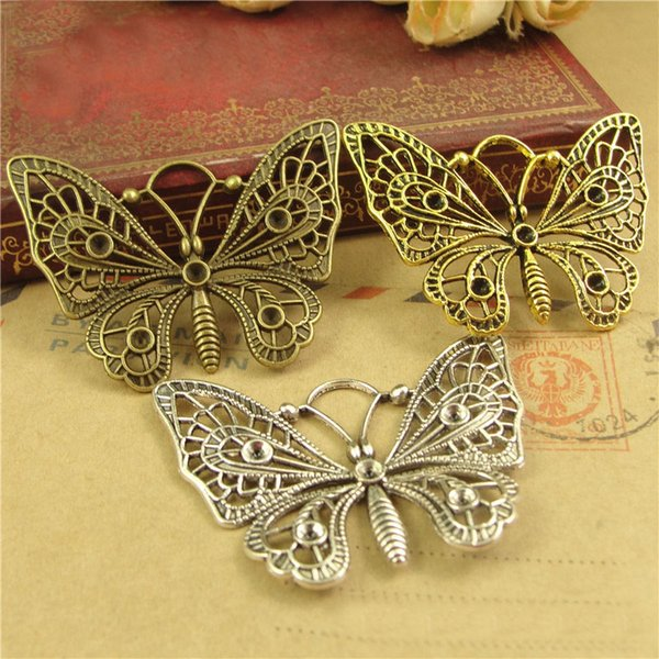 48*37MM Antique Bronze Retro butterfly charm beads in Europe and America DIY accessories, animal shaped jewelry, animal pendant