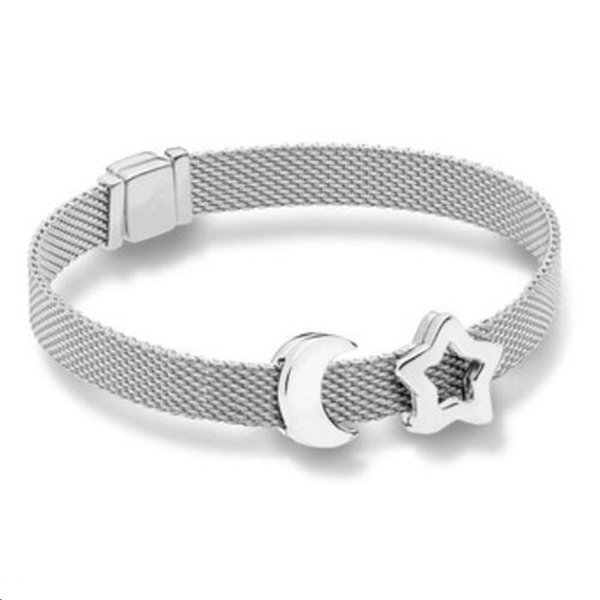 New Year 925 Sterling Silver Bead Charm Smooth Reflexions Star Clip Stopper Lock Beads Pan Bracelet Bangle Diy Jewelry