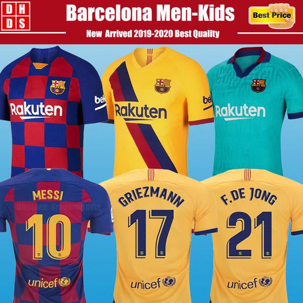 Neu 19 20 Maillot de foot Barcelona Soccer Jerseys Heim 21# F.DE JONG 17# GRIEZMANN 10 # Messi Fußball Trikots 9 # SUAREZ Fußball Trikots PIQUE Vidal Dembele Fußball Trikots