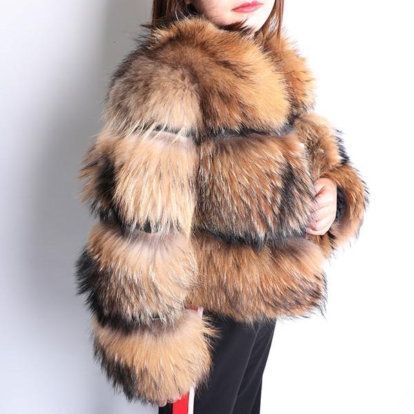 2019 Winter New quality fox fur female short section warm thickening real fox fur fashion luxury slim fox fur coat female CJ191213
